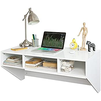 SoBuy White Wall mounted Table Desk with 3 Drawers Home Office