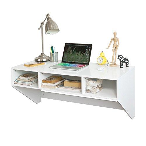 Sobuy® tavolo da parete, scrivania,mensola a muro,bianco,fwt14-w,it
