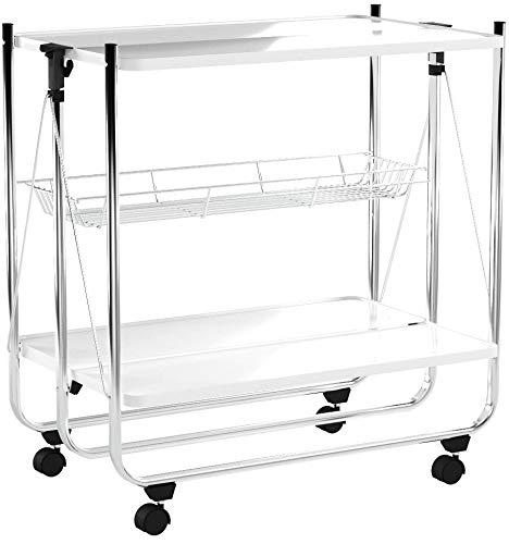 Relaxdays Servierwagen klappbar Weiß – 4 Rollen, Metall, 2 Böden, Korb – Küchenrollwagen – in drei Farben wählbar - 6
