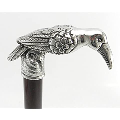 Bastone passeggio cornacchia esotica peltro colore argento legno per uomo classico elegante nobiliare nero cavagnini nostra produzione