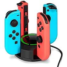 Chargeur pour Nintendo Switch Manettes Joy-Con, NesBull Support de Chargeur 4 en 1 pour Switch Joy-Con avec indication LED