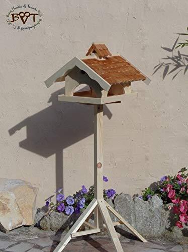 VOGELHAUS+NISTKASTEN, K-VONI5-dbraun002,groß,wetterfest,PREMIUM-Qualität,Vogelhaus,VOGELFUTTERHAUS + Nistkasten 100% KOMBI MIT NISTHILFE für Vögel WETTERFEST, QUALITÄTS-SCHREINERARBEIT-aus 100% Vollholz, Holz Futterhaus für Vögel, MIT FUTTERSCHACHT Futtervorrat, Vogelfutter-Station Farbe braun dunkelbraun schokobraun rustikal klassisch, Ausführung Naturholz MIT TIEFEM WETTERSCHUTZ-DACH für trockenes Futter - 4