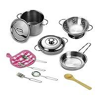 Vapewaves 12pcs Kitchen Stainless Steel Cooking Toys Kit Kids Mini Pretend Play Tool