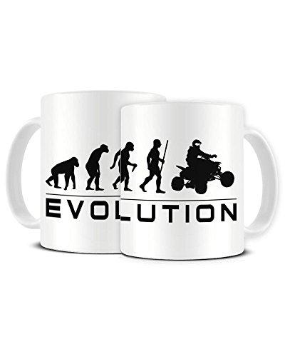 Funky NE Ltd Kaffeetasse mit Aufschrift Evolution of a Quad Bike Rider, Keramik, Geschenkidee - Dune Gift Set