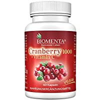 BIOMENTA CRANBERRY 1000 + VITAMIN C   AKTIONSPREIS!!!   Cranberry HOCHDOSIERT & VEGAN   60 Cranberry-Kapseln