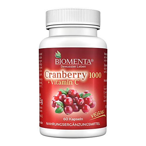 BIOMENTA CRANBERRY 1000 + VITAMIN C | AKTION!!! | Cranberry HOCHDOSIERT & VEGAN | 60 Cranberry-Kapseln