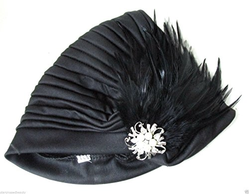 Black Feather Turban Vintage 1920s Pearl Cloche Hat 30s Headpiece Flapper k35 *EXCLUSIVELY SOLD BY STARCROSSED BEAUTY* by Starcrossed (1920 Hut Cloche)