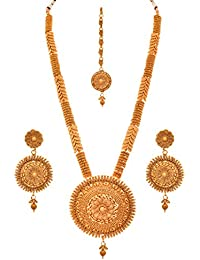 JFL - Traditional Ethnic One Gram Gold Plated Spiral Designer Long Necklace Set With Earrings For Women & Girls.