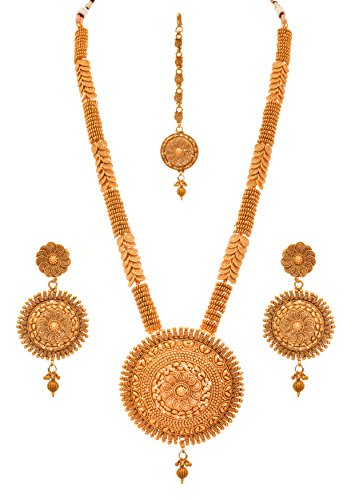 740320b8a JFL - Traditional Ethnic One Gram Gold Plated Spiral Designer Long Necklace  Set With Earrings For
