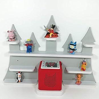 Tonie Board, Schloß in grau mit weißen Regalen, ideale Aufbewahrung für Tonie Box und Tonie Figuren, Kinderzimmer Regal, Deko Board, Musikboxaufbewahrung, Hängeregal