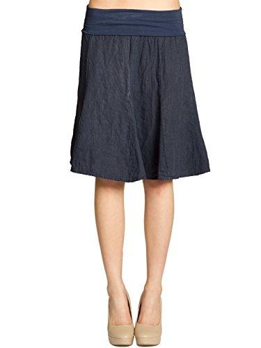 CASPAR RO014 Damen Leinenrock mit figurfreundlichem Stretch Bund