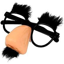 Gafas de payaso - TOOGOO(R)Gafas redondas con nariz rosada y bigote negro de coral del payaso