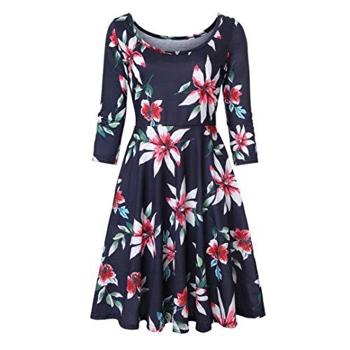 MIRRAY Damen Herbst Drei Viertel Ärmel Druck Florale A Linie Casual Dress Party Kleid