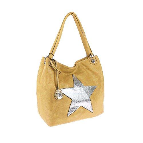 ital-design Damen Stern Tasche Shopper Henkeltasche Handtasche Schultertasche Umhängetasche (Gelb) Gelb