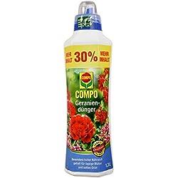 COMPO Geraniendünger für Geranien und alle stark zehrenden Pflanzen auf Balkon und Terrasse, Spezial-Flüssigdünger, 1,3 Liter