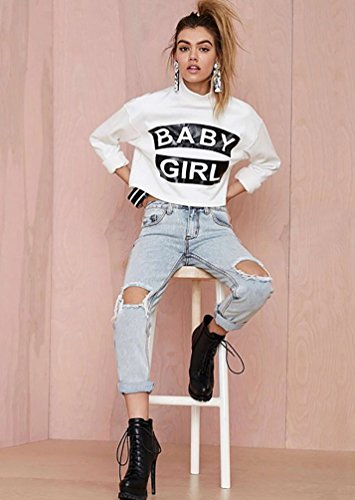 Baymate Frauen Mode Langarm Letter Print Sweatshirt T-shirt Crop Top Weiß
