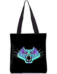 Snoogg Neon Cat Designer Poly Canvas Fashion Printed Shopping Shoulder Lunch Tote Bag For Women