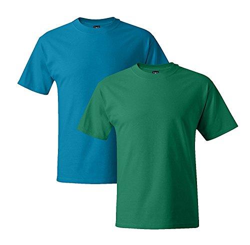 Hanes Mens 5180 Short Sleeve Beefy T, 1 Kelly Green/1 Light Blue 1 Kelly Green / 1 Teal
