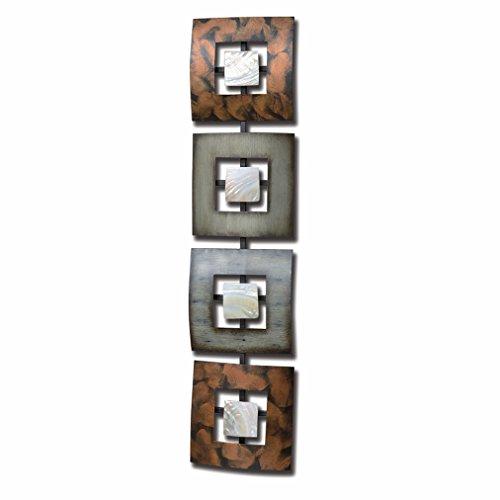 Das Moderne Floating, Quadrate, Rechteck Metall Wand Kunst, Kunsthandwerk, poliert Shell Einsätze,, Eisen, bemalt, über 2ft lang, Abstrakt Geometrische Plaque, von ganze Haus Welten - Skulptur Bas Relief