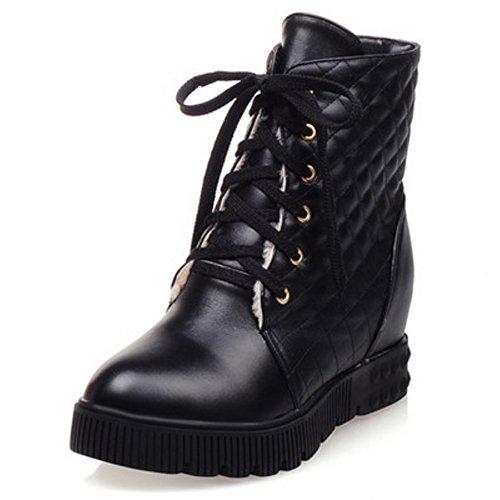 Faculdade Confortáveis Toe Lacing Preto estilo Redondas Mulheres Rasos Elegantes ankle Coolcept Simplesmente Boots Sapatos 1wxqp5P0