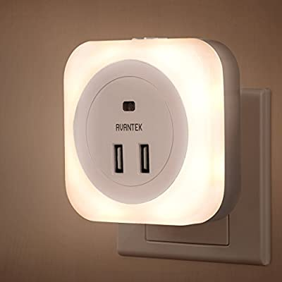 AVANTEK LED Night Light Plug-and-Play Automatic Wall Lights with Dusk to Dawn Sensor and Dual USB Ports