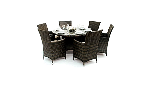 Maze Rattan Madrid 7 Piece Garden Dining Set In Brown Perfect For Family Gatherings And A Wonderful Addition To Your Garden Decking Conservatory Patio Or Sun Room Amazon Co Uk Garden Outdoors