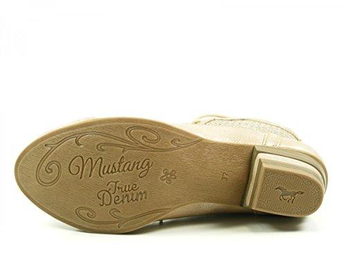 Mustang Damen Stiefeletten Silber (Metallic) mittelbeige