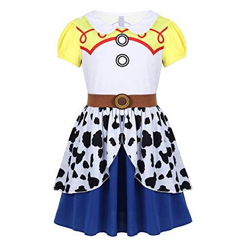Kostüm Cowboy Up Dress - FEESHOW Mädchen Cowgirl Kleid Wilder Westen Cowboy Cosplay Kostüm Kurzarm Partykleid mit 2-lagiger Rock Kinderkostüm Dress Up Party Karneval Fasching Gelb 110-116/5-6Jahre