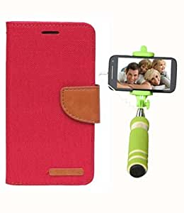 Aart Fancy Wallet Dairy Jeans Flip Case Cover for Asuszen-5 (Red) + Mini Fashionable Selfie Stick Compatible for all Mobiles Phones By Aart Store