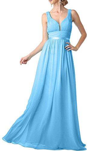 Promgirl House Damen Sexy Traeger A-Linie Satin Tuell Chiffon Lang Abendkleider Cocktailkleider Ballkleider Blau