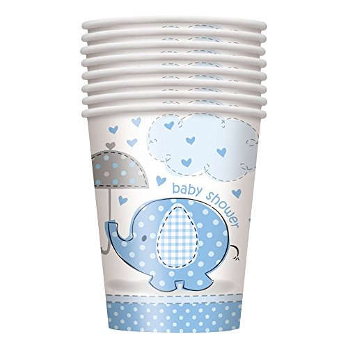 Unique Party Supplies 266 ml blau Elefant Baby Dusche Pappbecher, 8 Stück