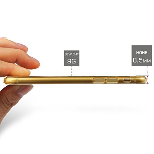 Hülle für Iphone 6 / 6s (4,7) TPU/Silikon, Slim Design (1,5mm dünn), verbaute Schutzstöpsel, Inkl. Schutzhülle (Screen Protector) Case Tasche Cover Schutzhülle - CoinKeeper - Farbe: SCHWARZ GOLD