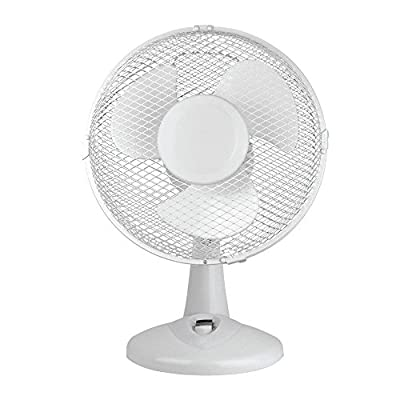 Status Portable 9-Inch Oscillating Desk Fan, White