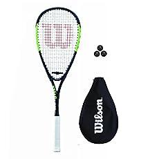Wilson Pro Team raqueta de squash + cubierta + 3 Squash Bolas - Longitud: 55.8cm. - Peso: 159g. - Cabezal: 477cm2. - Aptas para niños de más de 4 años. - Cabezal: 496cm2.