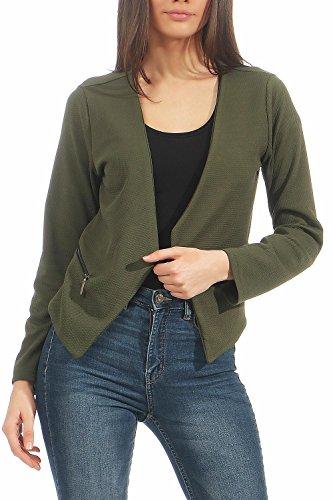 Malito Damen Blazer ohne Kragen | Sakko im Basic Look | Kurzjacke mit Zipper | Jacke - Jackett - Blouson 6040 (Oliv, XXL)