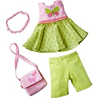 HABA 304253 - Kleiderset Schmetterling, Set aus Kleid, Hose, Handtasche und Haarband, Puppenzubehör für alle 30 cm großen HABA-Puppen, ab 18 Monaten
