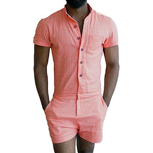 Herren Kurzarm Jumpsuit - Fashion Einfarbig Stehkragen Slim Fit Overall mit Knöpfen Casual Strampler mit kurzer Hose Ein Stück S-XL