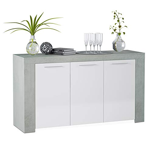 Habitdesign 016620L - Aparador Comedor Moderno, Buffet salón, Color Blanco Artik y Gris Cemento, Ambit...
