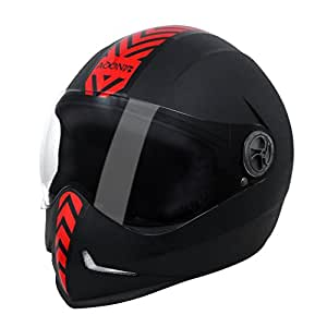 Steelbird 173609 Adonis Dashing Full Face Helmet (Black and Red, L)