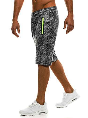 OZONEE Pantaloni Uomo Pantaloncini pantaloncini Pantaloni Sport Fitness Tempo libero Shorts Pantaloni tuta Bermude RED FIREBALL W1019 Nero