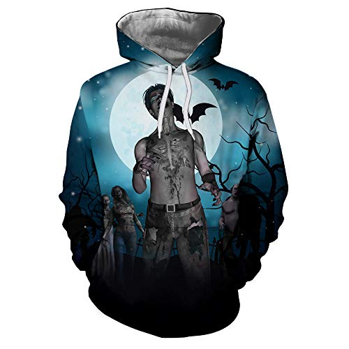 Kapuzenpullover Herren Piebo Lebensecht 3D Grafik Hoodie Sweatjacke mit Kängurutasche Pullover mit Kapuze Sweat Hood Halloween Thema Sweatshirt Kapuze Sweater