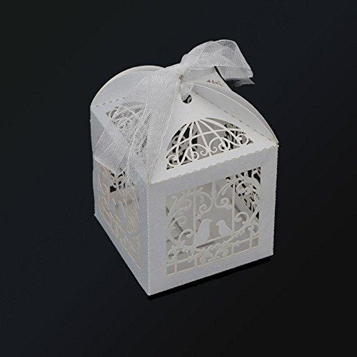 Yuver (TM) Romantico favore di cerimonia gabbia di caramella Mini uccello fai da te di caramella Cookie Gift Box per la festa nuziale con nastro bianco 100pcs / set
