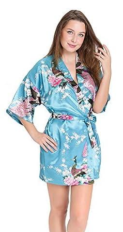 Aibrou Femme Motif Exotique Paon Fleur Kimono chemise de nuit Satin Peignoir (Medium, bleu de lac)