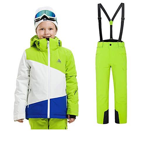 LSERVER-Traje de Esquí para Niños y Niñas de Invierno Conjunto de Ropa Retazo de Colores Grueso Chaqueta + Mono 2 Piezas, Verde+Verde(Niño), 120