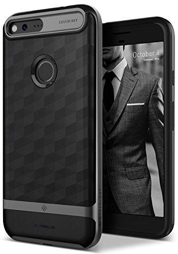Caseology Google Pixel XL Hülle, [Parallax Serie] Schlanke Hülle mit Textur Doppelter Schutzschicht Sichere Haftung geometrisches Design [Schwarz - Black] für Google Pixel XL (2016)