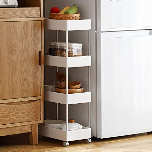 YAN Schieben Sie Storage Tower Rack, 4-Tier Küche Slim Mobile Shelving Unit Organizer Universal Räder und Haken, Heavy Duty Pantry Lagerregal für Enge Räume Bad & Küche, weiß, Rollwagen -