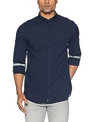 Tommy Hilfiger Mens Casual Shirts (8907504645138_A7AMW123_Medium_Maritime Blue / Cloud Htr)