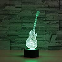 New 3D Guitar Music Note Instrument Piano Night Light Touch Table Desk Lamps 7 Color Changing Illusion Lights with Acrylic Flat ABS Base USB Charger for Christmas Gift