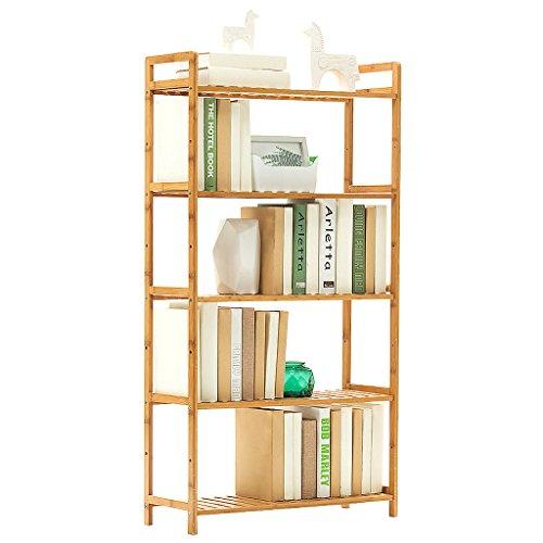 BOOK CASE Bücherregal Simple Wooden, 5-Tiers Mehrzweck-Bücherregal, Robuste kompakte Rack für Home Office Wohnzimmer, Lagerung Filme & Bücher Bambus Regale (Farbe : 68cm Long) (5-regal Bücherregal Verstellbar)
