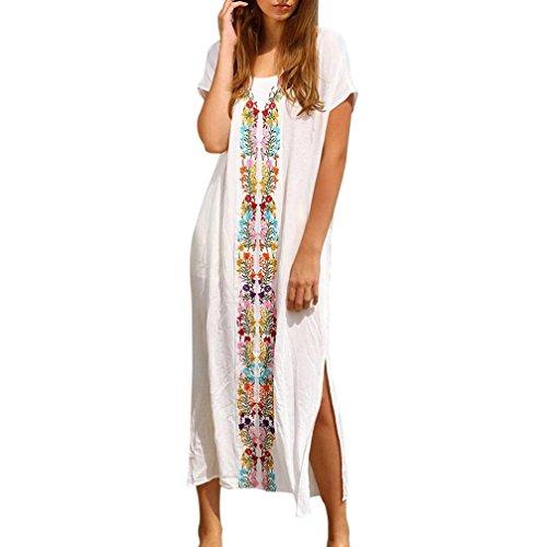 Badeanzug Frauen Sommer Kaftan Strand Badebekleidung Gestickte Abdeckung herauf Kurzarm Langes Kleid Baumwollblumenstrand Stickerei Bikinis Cover (Einheitsgröße, Weiß) -